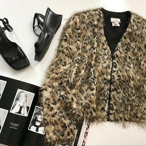 Vintage Joseph Ribkoff Fuzzy Leopard Cardigan